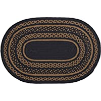 VHC Brands Classic Country Primitive Flooring-Patriot Navy Jute Blue Oval Rug, 18 x 26, Black