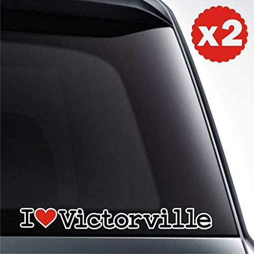 2x I love united states city victorville america urban area county bumper decal low drive speed static bumper wheel bass turbo fiesta drag drift sticker (City Of Victorville)