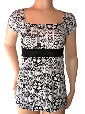 61ba8c7f6bdc Ladies Teens Girls Black & White Square Neck Floral Tunic Dress Top Size 12  NEW: Amazon.co.uk: Clothing