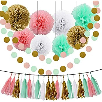 Wild One Birthday Decorations Boy Tissue Paper Pom Poms Blue Gold Balloons Black White For