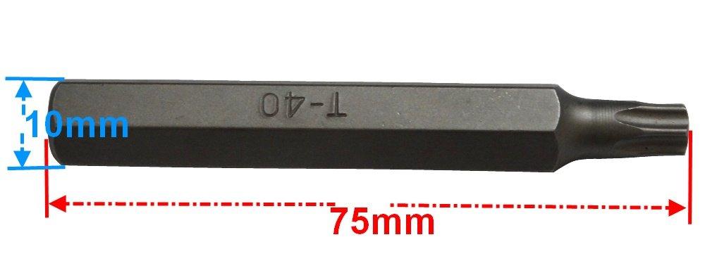 T40 75mm 3//8 embout de vissage Torx pour douille 10mm Aerzetix