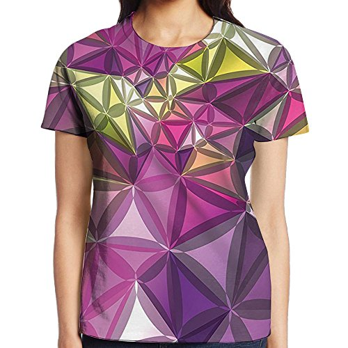 WuLion Abstract Ornate Gradient Different Size Diamond Women's 3D Print T Shirt XL White