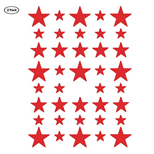 Stars Wall Decal,2 Sizes Red Stars Wall Sticker(117 Stars) Easy to Peel and Stick for Room,Kids Room Decoration/Ins hot(Red Star)