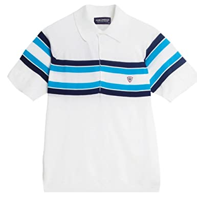96312ab32fc9 John Smedley tallow Short Sleeve Knitted Sea Island Cotton Polo Shirt -  White/Blue-