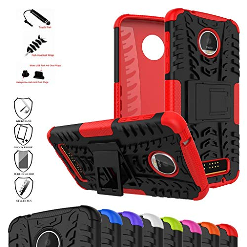 a Mouth Shockproof Heavy Duty Combo Hybrid Rugged Dual Layer Grip Cover with Kickstand for Motorola Moto Z Play Droid (2016)(with 4 in 1 Packaged),Red ()