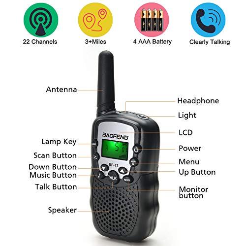 BaoFeng 2 Pack BF-T3 Handheld Kids Walkie Talkies 3 Miles Range Built-in Flashlight VOX UHF 22 CH FRS Hunting Accessories 2 Way Radio Mini Kids Toy