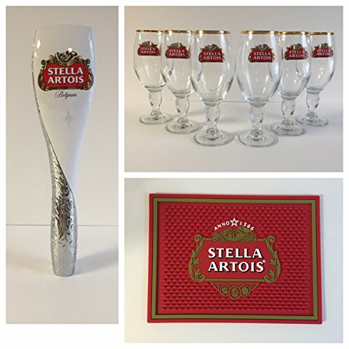 (Stella Artois Beer Draft Kit - 6 33cl Glasses - 1 Tap Handle - 1 Bar Mat)