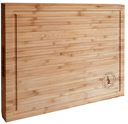 Mini Butcher Block - Premium Extra Large Bamboo Cutting Board by La Mongoose. With Juice Groove and Hand Grips. Reversible, Anti-Microbial, Solid, Sturdy Butcher Block, Chopping Serving Plate Tray Platter. 17 x 13 x 1.5