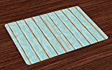 cottage style kitchens Lunarable Wood Print Place Mats Set of 4, Old Fashioned Weathered Rustic Planks Summer Cottage Beach Coastal Theme, Washable Fabric Placemats for Dining Room Kitchen Table Decoration, Pale Blue Tan