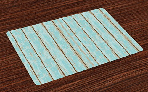 Lunarable Wood Print Place Mats Set of 4, Old Fashioned Weathered Rustic Planks Summer Cottage Beach Coastal Theme, Washable Fabric Placemats for Dining Room Kitchen Table Decoration, Pale Blue Tan