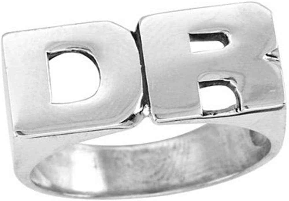 Name Ring Unisex Block Style 8mm Sterling Silver or Yellow Gold Plated Silver Rylos Personalized Initial Ring Special Order Made to Order.