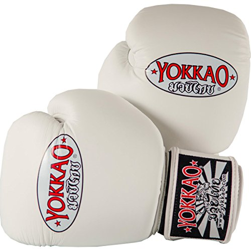 Yokkao Cowhide Fight Gloves for Muay Thai, Boxing, Kickboxing and Martial Arts (White / 16 oz)