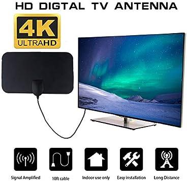 POTV,Antena De TV Interior Antenas De HDTV Digital 50 Millas Rango ...