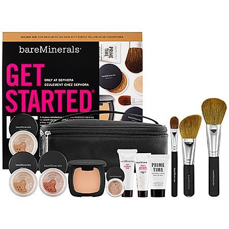 Bare Escentuals bareMinerals Get Started Kit GOLDEN TAN : For Medium - To - Tan Skin With Subtle Yellow - Olive Undertones Limied Edition 10 Piece Makeup Collection ($186 VALUE) (Bare Mineral Get Started Kit)