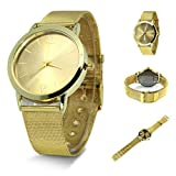 Hunputa® Luxury Women Gold Retro Design Alloy Band Analog Alloy Quartz Wrist Watch (B)
