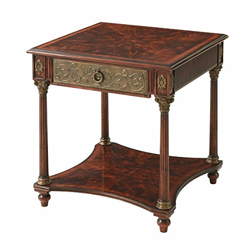 French Neo Classic mahogany square Lamp Table with drawer, shelf stretcher base, 18th century style ()