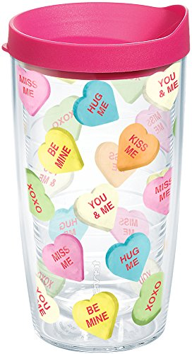 Tervis 1204571 Candy Hearts Tumbler with Wrap and Fuchsia Lid 16oz, - Candy Fuchsia