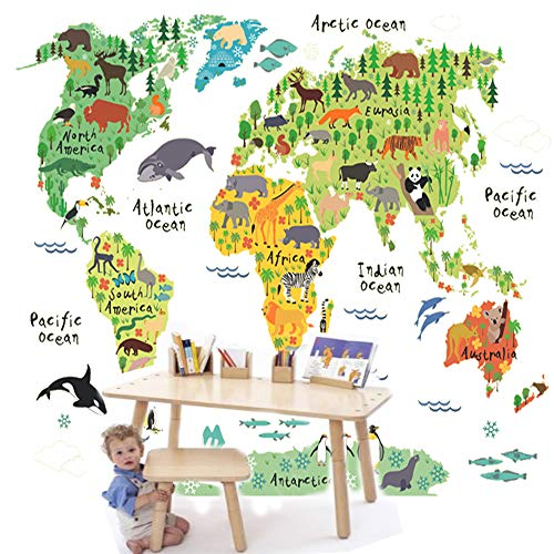 huangliao Kids Educational Animal Landmarks World Map Wall Stickers, Peel & Stick Wall Decor Bedroom Living Room Removable Vinyl Art Mural Decals for Girls Boys Nursery ()