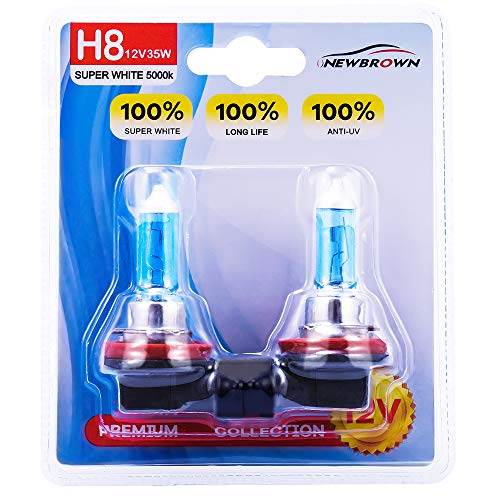 (H8 Halogen Headlight Bulb fog light with Super White Light PGJI9-1 12V/35W 5000K, 2 Pack, 2 Yr Warranty)