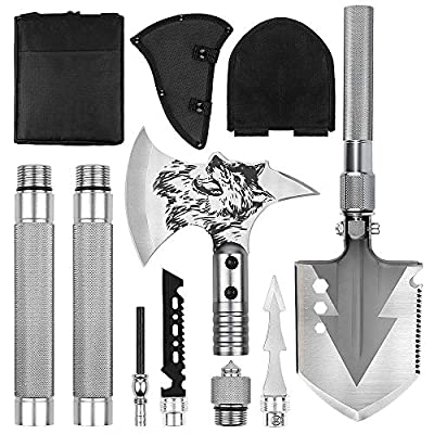 LIANTRAL Folding Shovel & Survival Axe Set- Portable Multi Tool Survival Kits with Tactical Waist Pack, Camping Axe Military Shovel for Backpacking, Entrenching Tool, Car Emergency from LIANTRAL