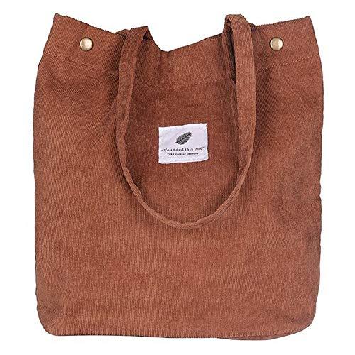 Funtlend Umhängetasche Damen Groß Cord Tasche Damen Handtasche Shopper Damen Henkeltasche für Uni Arbeit Mädchen Schule (Braun)