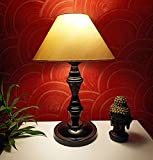 VRCT Classic Off-White Khadi Conical Shade and Beautiful Black Base Table Lamp for Bedroom and Drawing Room, Table Lamp (Size: 40 x 26 x 15 cm) (Bulb not Included)