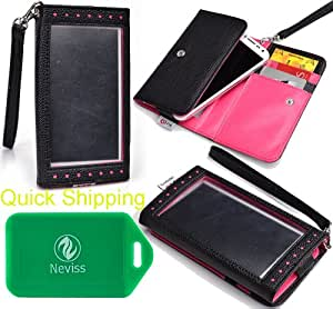 Karbonn A4+ WALLET/SMART PHONE HOLDER WITH XPOSED FRONT WINDOW - BONUS WRISTLET STRAP INLCUDED- BLACK/HOT PINK