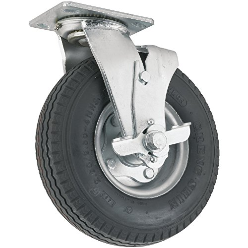 Pneumatic Caster Wheel with Swiveling Top Plate w/ Brake  - 8-Inch -  310 lb. Load Capacity  - Air-Filled Wheel Provides a Cushioned Ride & Shock Absorption Best Suited for Outdoor Use