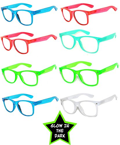 Retro 80's Vintage Clear Lens Sunglasses Color Frames 8 Pack Glow in the - Glow In Lenses Dark The