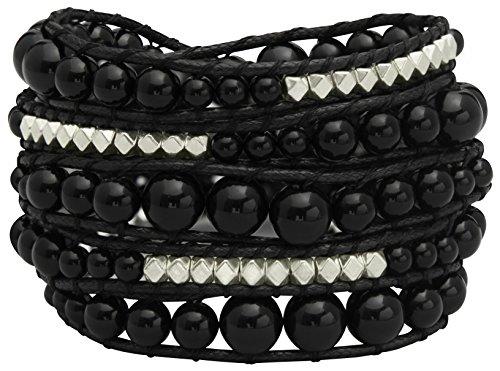Wide Genuine Leather Adjustable Bracelet Wrap Bangle (Black) - 6