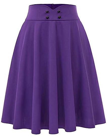 SJHJA Faldas para Mujer Falda Plisada Estilo Años 50 Púrpura ...