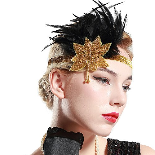 BABEYOND Roaring 20s Great Gatsby Headpiece 1920s Flapper Headband with Feather 1920s Flapper Gatsby Hair Accessories -
