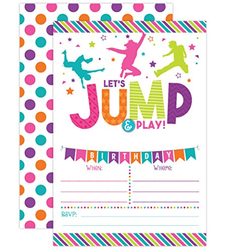 Bounce House Birthday Invitation - Trampoline Jump Birthday Invite - Girl Bounce Birthday - Bounce and Play! Trampoline Birthday Party, 20 Fill In Mermaid Party Invitations With Envelopes -