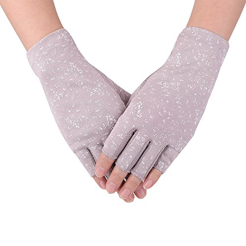 Flammi Women's UPF 50+ Fingerless Sun Gloves Cotton Driving Gloves Sun Protective (Light Purple) (Womens Driving Gloves)