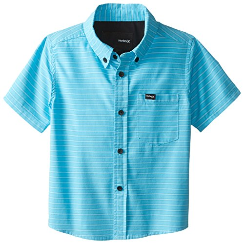 Hurley Little Boys' Locals Only Short Sleeve Woven Top, Clear Water Stripe, 7