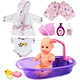 Click N' Play Newborn Baby Doll Bath Time Play Set with Accessories.
