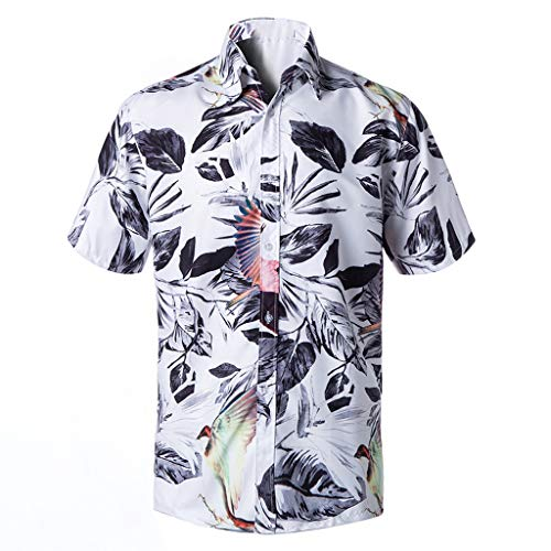 JJLIKER Men's Unisex Hawaiian Short Sleeve Shirt Aloha Floral Graphic Print Casual Button-Down Shirts Beach Party Holiday White