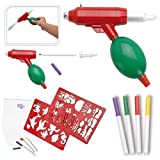 Airbrush Set Air Blow Pump Brush Gun Stencils Pens Creative Toy Drawing Colouring Painting Play Paint Craft Art Kit