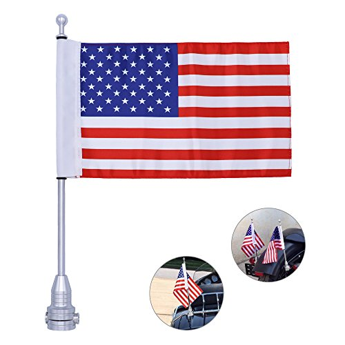 REAMTOP Motorcycle Luggage Rack Flag Mount Kit Flag Pole with American Flag for Harley Davidson (Flagpole +USA Flag)