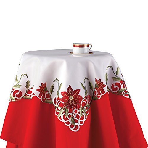 Tablecloth Basic (Collections Etc Embroidered Christmas Poinsettia Table Linens, Square)