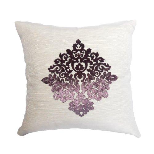 Wildflower Linen Sofia Ottoman Pillow, 18-Inch, White/Velvet Lavender