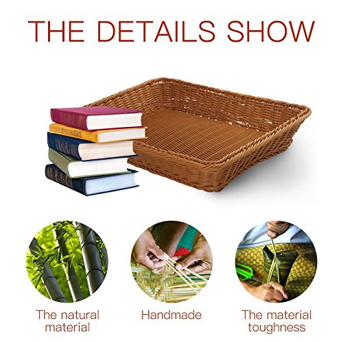 15.7'' Poly-Wicker Bread Basket-YOLOGOSUN Woven Tabletop Food Fruit Vegetables Serving Basket, Restaurant Serving,Brown (3 PACK) by YOLOGOSUN (Image #3)