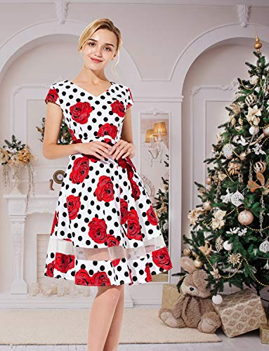 ad1a8f313ba Gardenwed Women s Audrey Hepburn Rockabilly Vintage Dress 1950s Retro  Cocktail Swing Party Dress