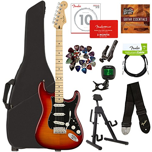 Fender Player Stratocaster Plus Top, Maple - Aged Cherry Sunburst Bundle with Gig Bag, Stand, Cable, Tuner, Strap, Strings, Picks, Capo, Fender Play Online Lessons, and Austin Bazaar Instructional DVD