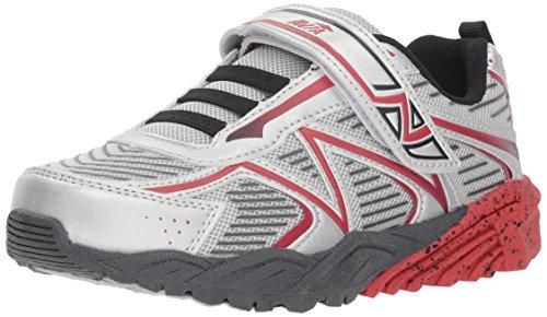 Avia Boys' AVI-Force II Sneaker, Chrome Silver/Classic Red/Black/Iron Grey, 3 Medium US Little Kid