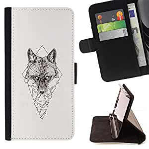 KingStore / Leather Etui en cuir / Samsung Galaxy S4 Mini i9190 / Polígono Triángulo Lobo