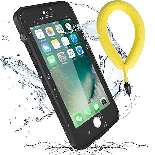 iPhone 7 Waterproof Case, iThrough Upgraded Shockproof Dropproof Dirtproof Rain Snow Proof Case with Floating Strap Built in Screen Protector, Heavy Duty Underwater Case Cover for iPhone 7/8 (Black)