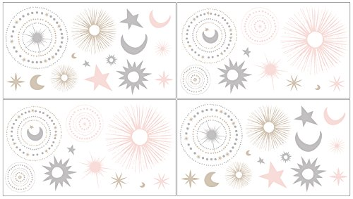 Sweet JoJo Designs Blush Pink, Gold, Grey and White Star and Moon Peel and Stick Wall Decal Stickers Art Nursery Decor for Celestial Collection - Set of 4 Sheets