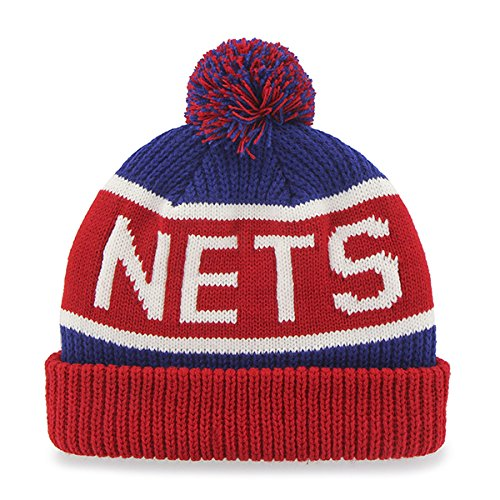 '47 New Jersey Nets Red Cuff Calgary Beanie Hat with Pom - NBA Cuffed Winter Knit Toque Cap