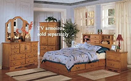 Amazon.com: 4pc King Size Bedroom Set Cottage Style in Brown ...
